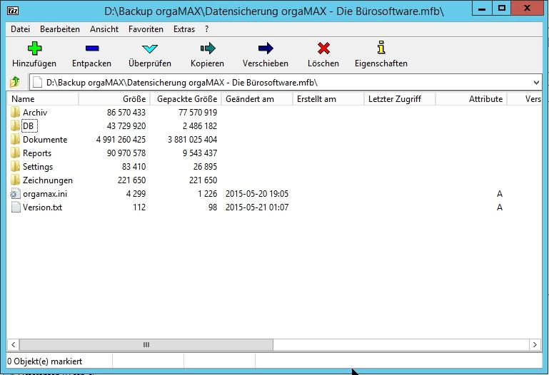 orgaMAX Datensicherung und 7-Zip