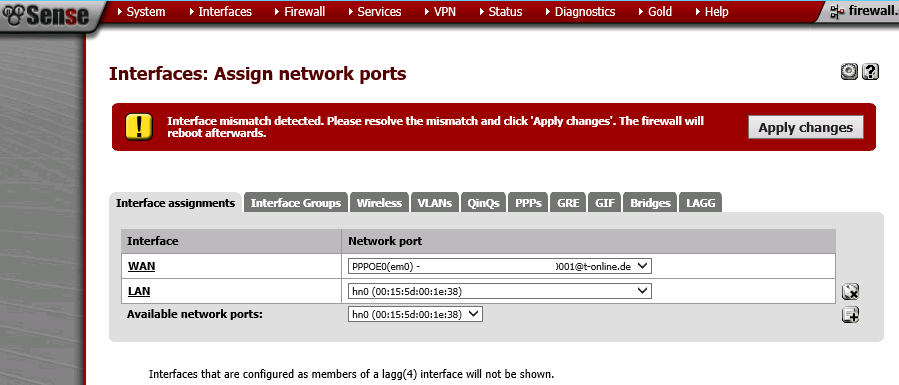 pfSense - Restore - Interfaces mismatch