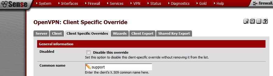 pfSense- OpenVPN - Client Specific Override