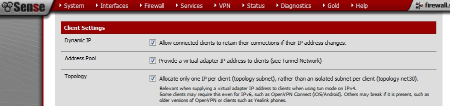 pfSense - OpenVPN Roadwarrior - Allocate only one IP per client (topology subnet), rather than an isolated subnet per client (topology net30).