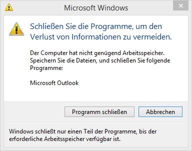 Windows 8.1 - Nicht genügend Arbeitsspeicher