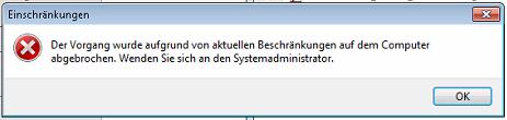 Windows - Einschränkungen