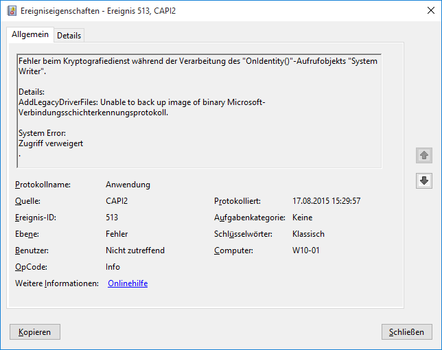 Windows 10 - EventID 513 - CAPI2