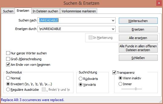 Notepad++ - Zeilenumbruch einfügen