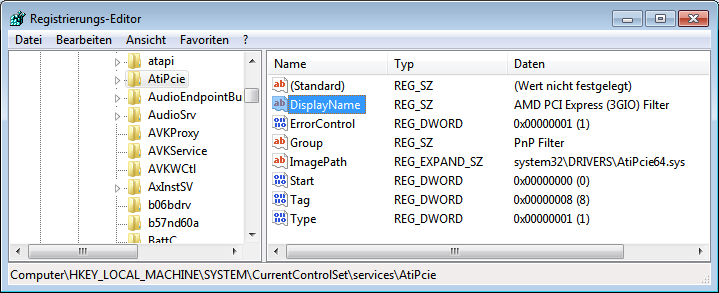 AMD PCI Express (3GIO) Filter in der Registry