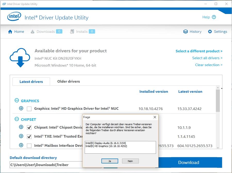 Intel Driver Update Utility + Manuelles GFX-Update