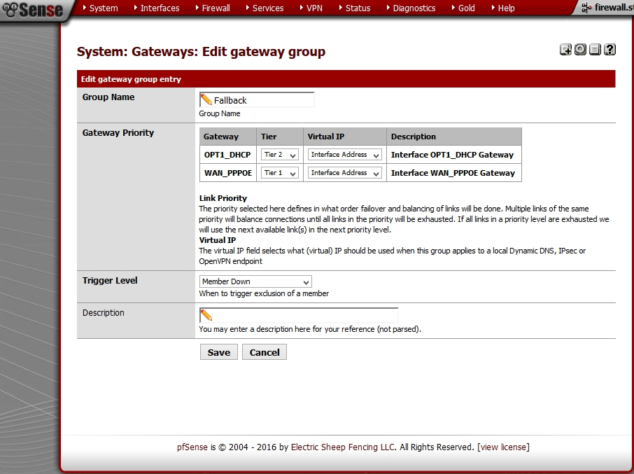 pfSense - Gateway Group