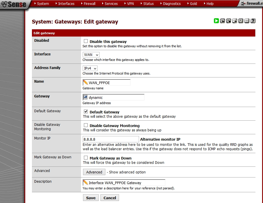 pfSense - System - Routing - Gateways - Interface - Monitor IP
