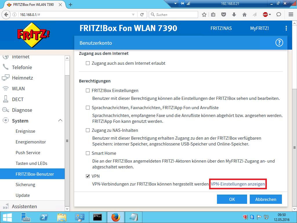 FRITZ!Box - VPN-Einstellungen
