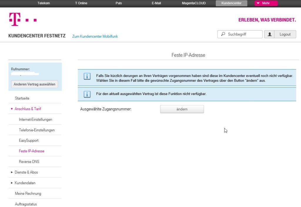 Telekom - Feste IP-Adresse übernehmen - Fehler
