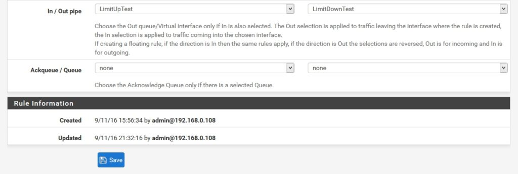 pfSense - Firewall-Rule - In / Out pipe