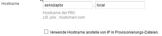 Askozia - Verwende Hostname anstelle von IP in Provisionierungs-Dateien.