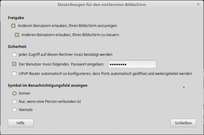 Linux Mint - Freigabe der Arbeitsfläche