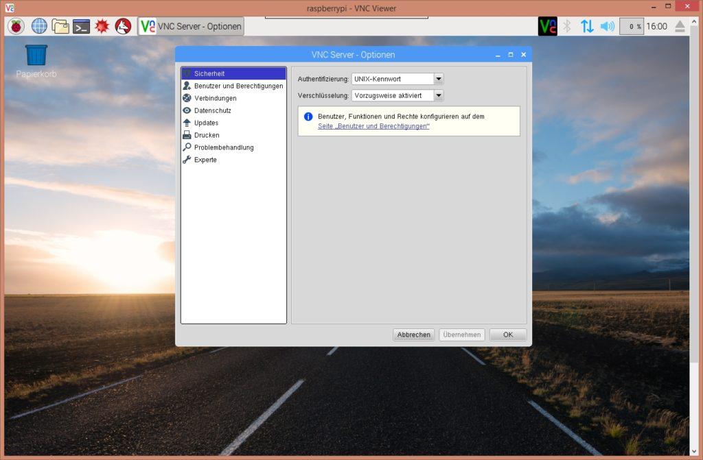 Raspberry Pi - VNC Server Optionen