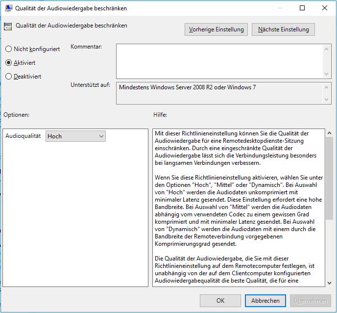 Windows Qualität Der Audiowiedergabe Bei Rdp Konfigurieren
